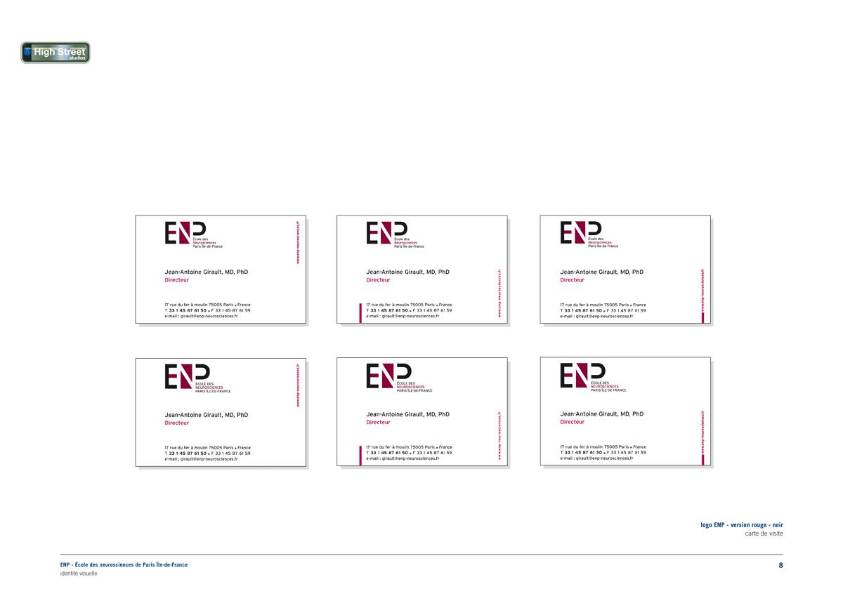 ENP École des neurosciences, Paris (Inserm) - business cards