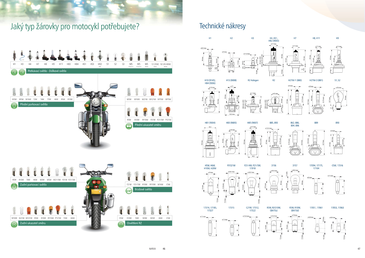 Narva catalog 2014-2015 - Czech version - Two-wheeler which lamp for which function page
