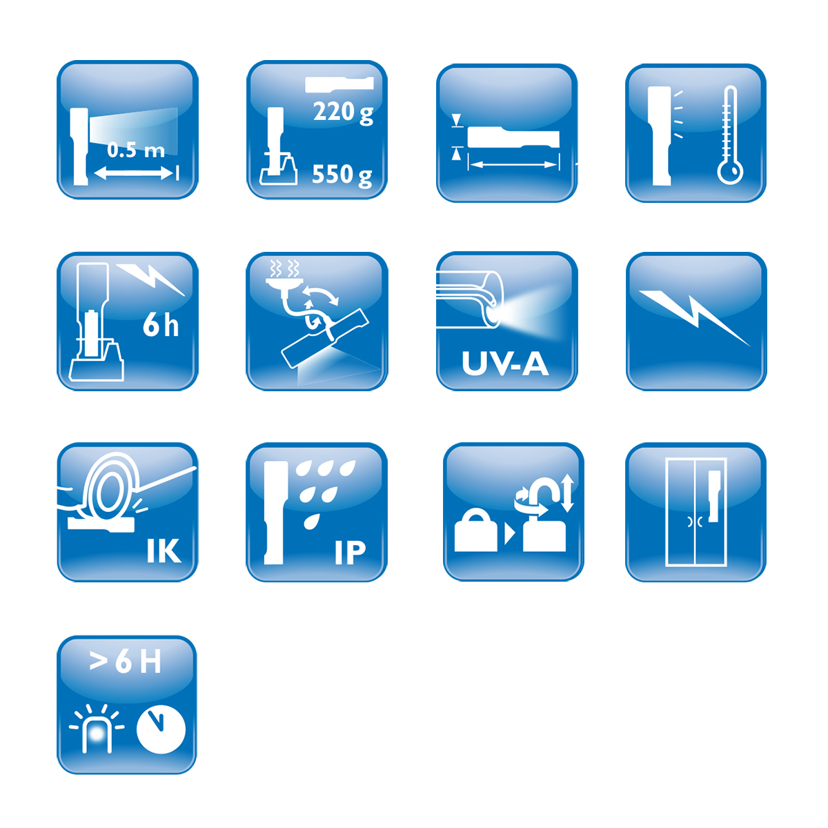 Philips LED workshop lamp icons and symbols