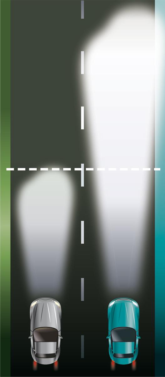 Philips X-tremeVision beam comparison illustration