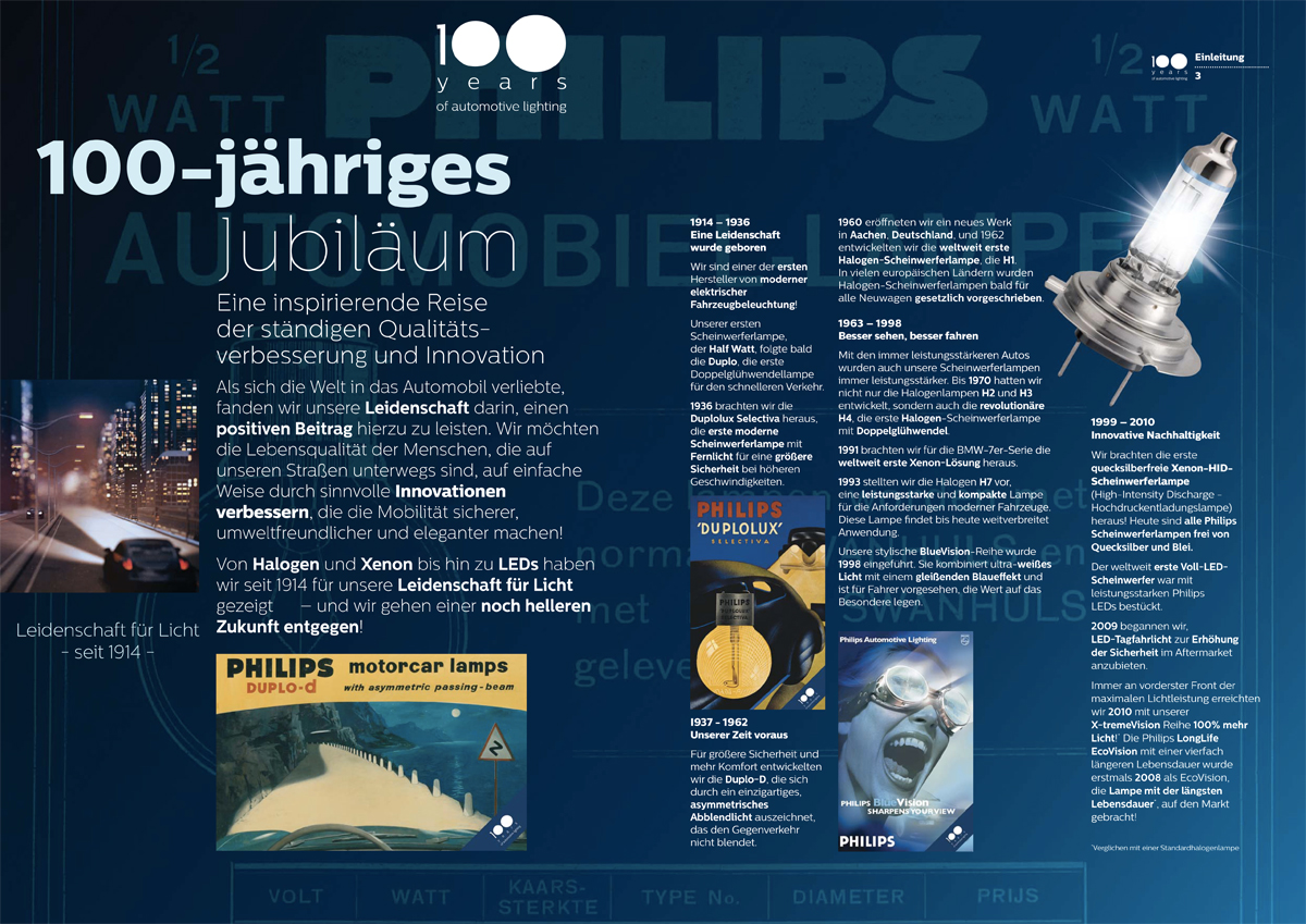 Philips automotive catalog 2014-2015 - German version - 100-year celebration introduction