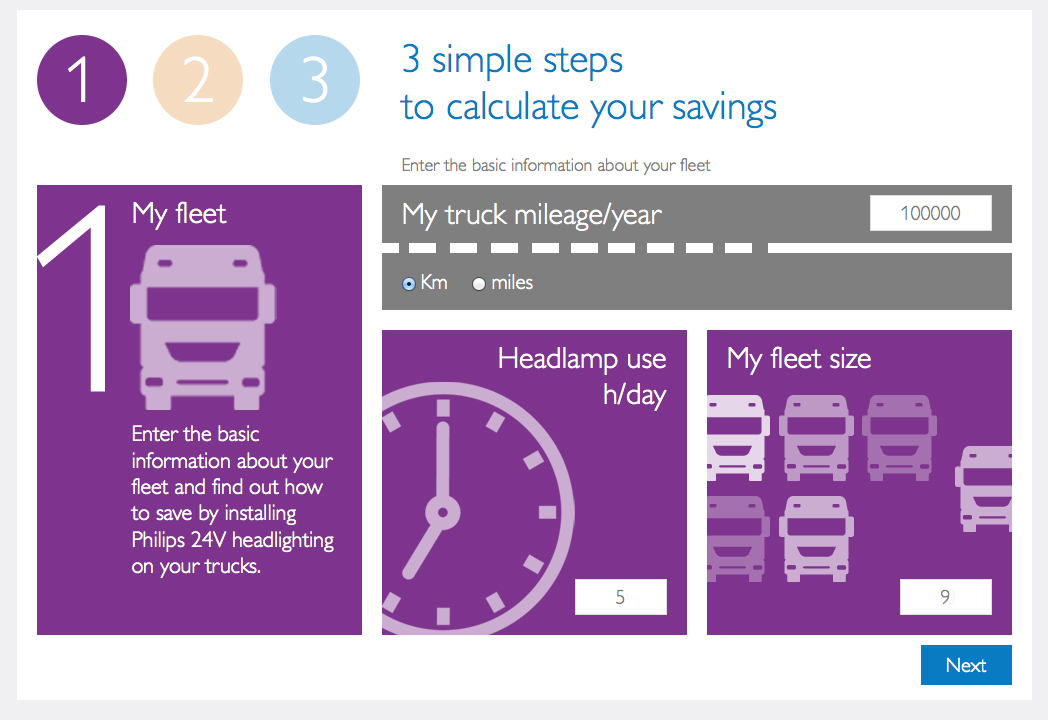 Philips truck lighting cost-saving calculator - Step 1