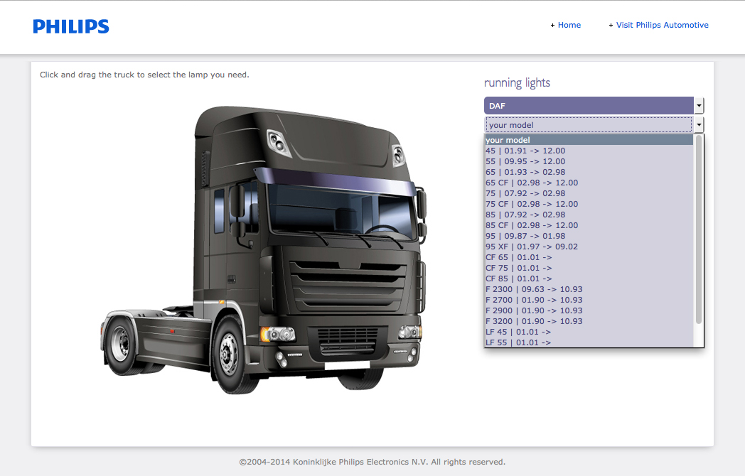 Philips 24V truck lighting application guide - Truck model search