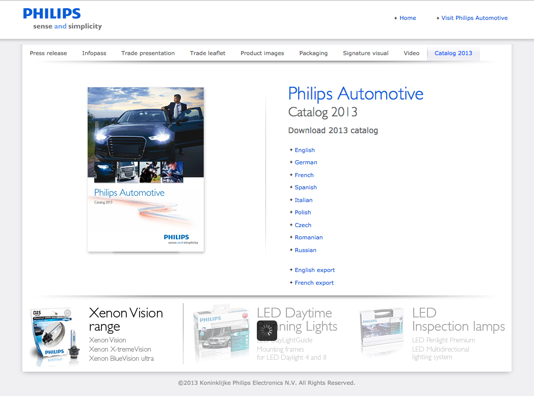 Philips innovation products sales kit for Automechanika, Frankfurt - Philips catalog download page