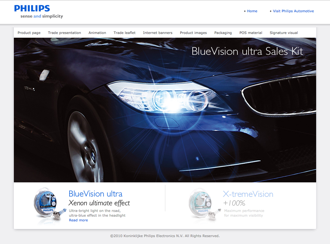 Philips BlueVision ultra and X-tremeVision sales kit