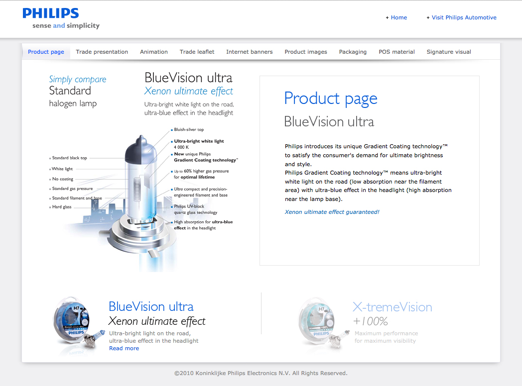BlueVision ultra and X-tremeVision sales kit - product page