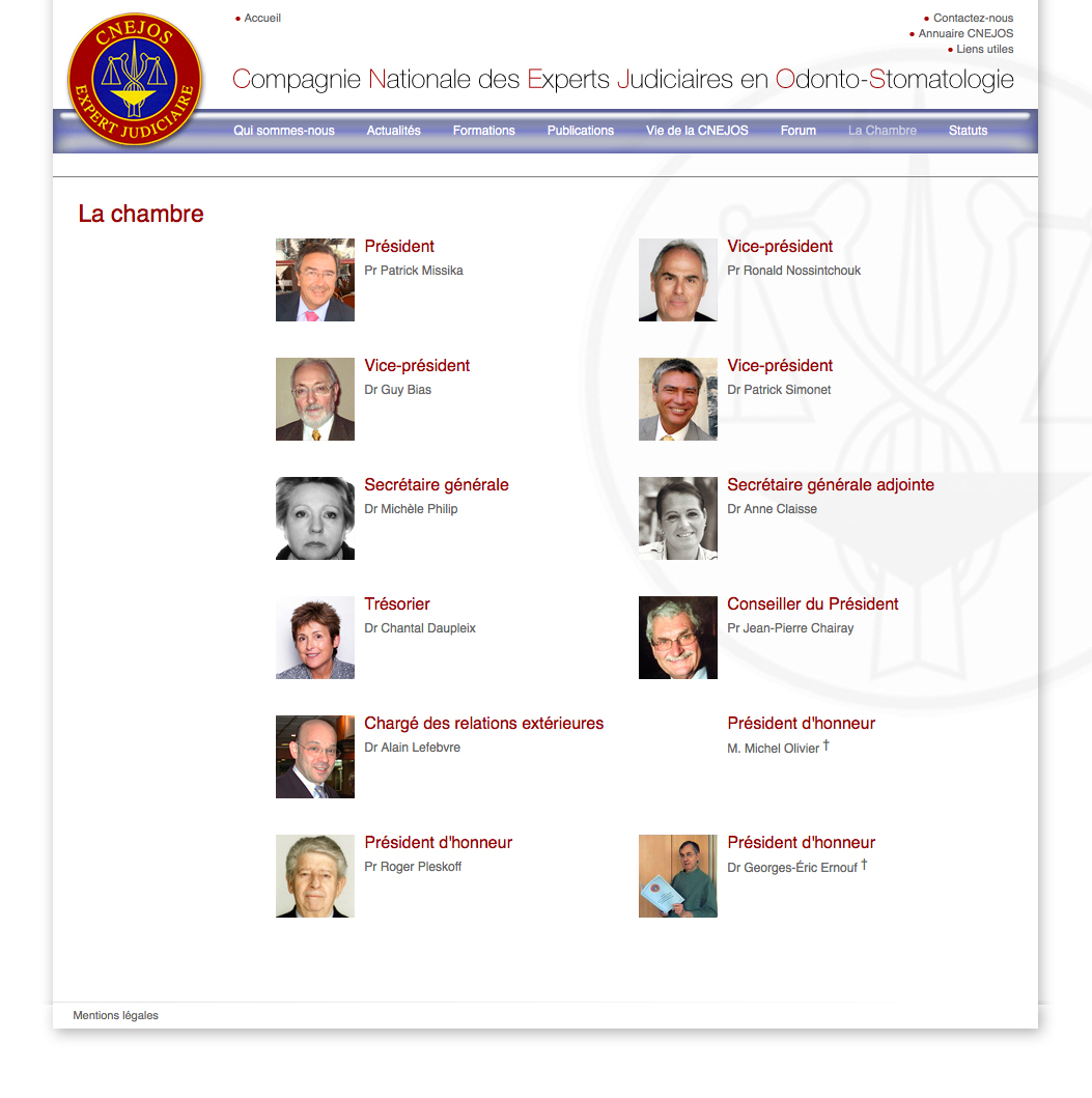 CNEJOS (Compagnie Nationale des Experts Judiciaires en Odonto-Stomatologie) website