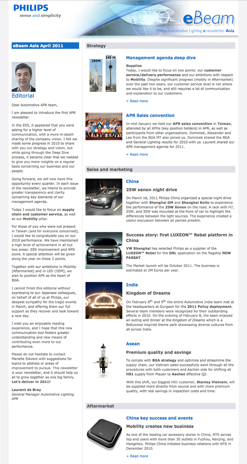 eBeam Asia - Philips Automotive e-newsletter for Asia