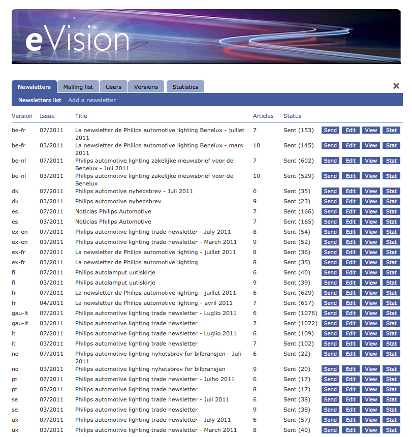 eVision - Philips automotive lighting trade e-newsletter - localization back-office