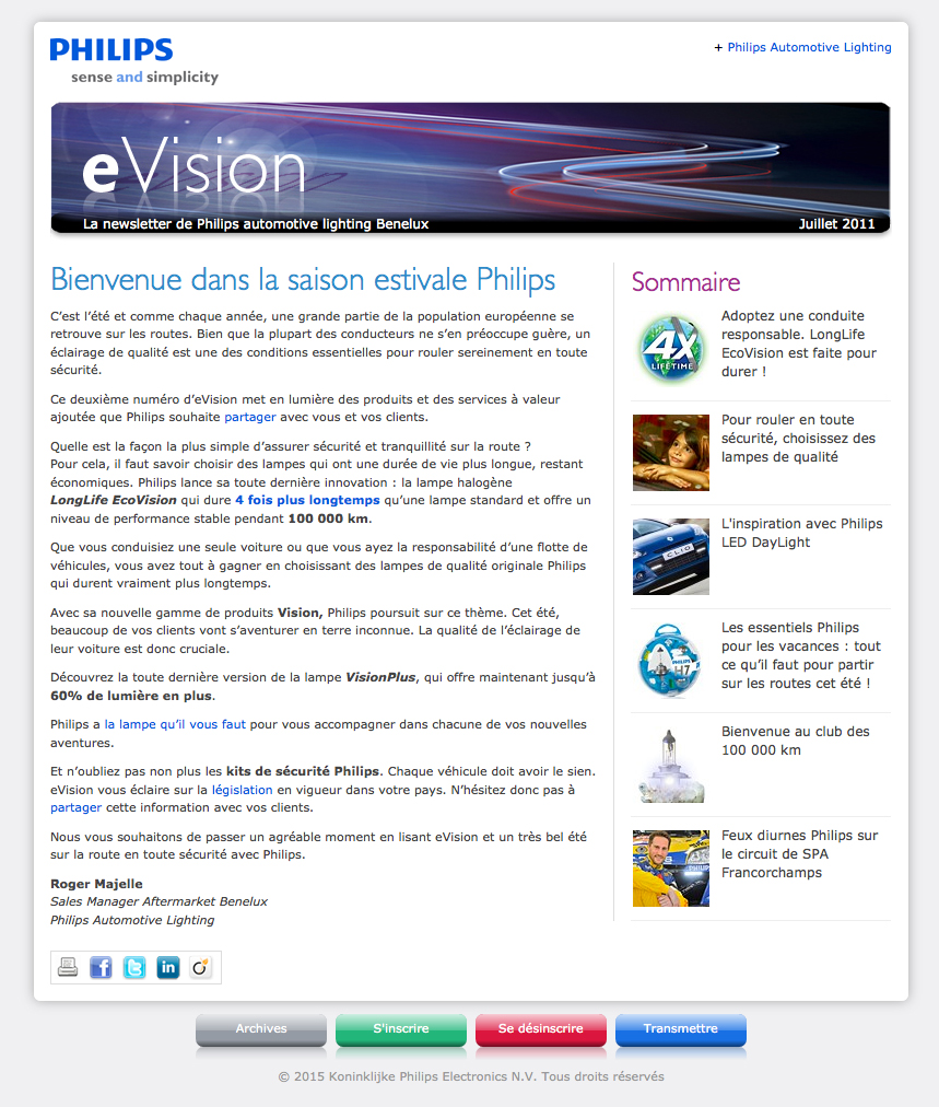 eVision - Philips automotive lighting trade e-newsletter - French version