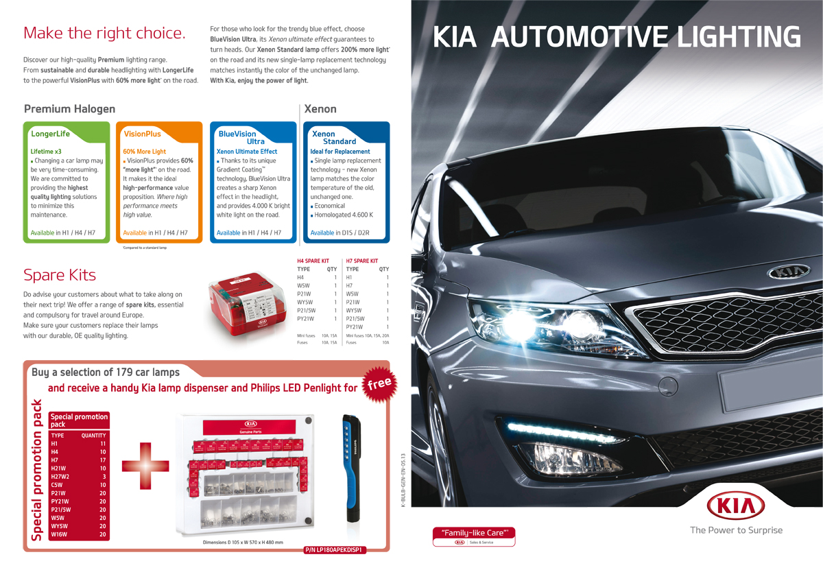 KIA automotive lighting brochure - cover and back