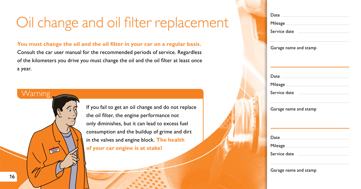 Philips automotive - Maintenance book - inside page