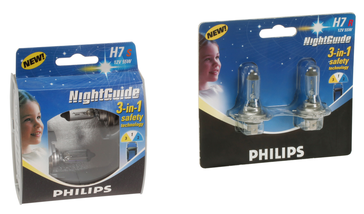 Philips NightGuide automotive lighting packaging