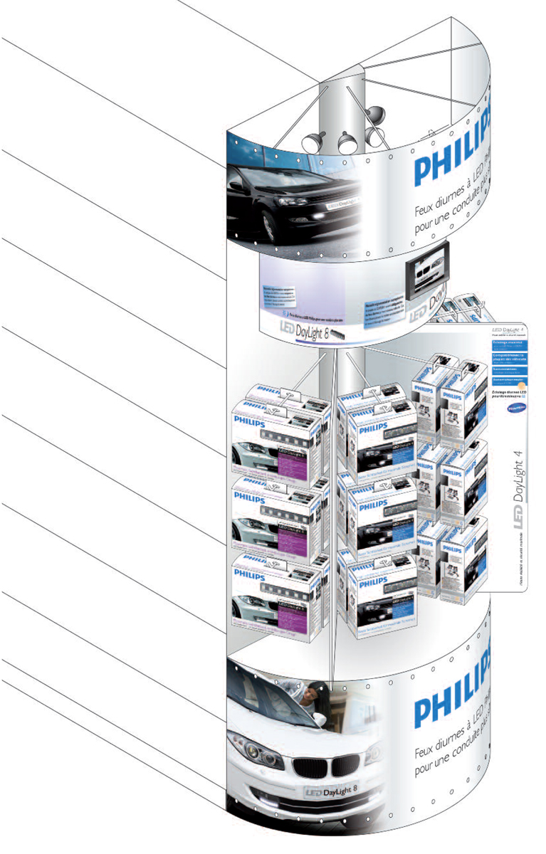 Philips Daytime Running Lights gondola at Carrefour - sketch with products