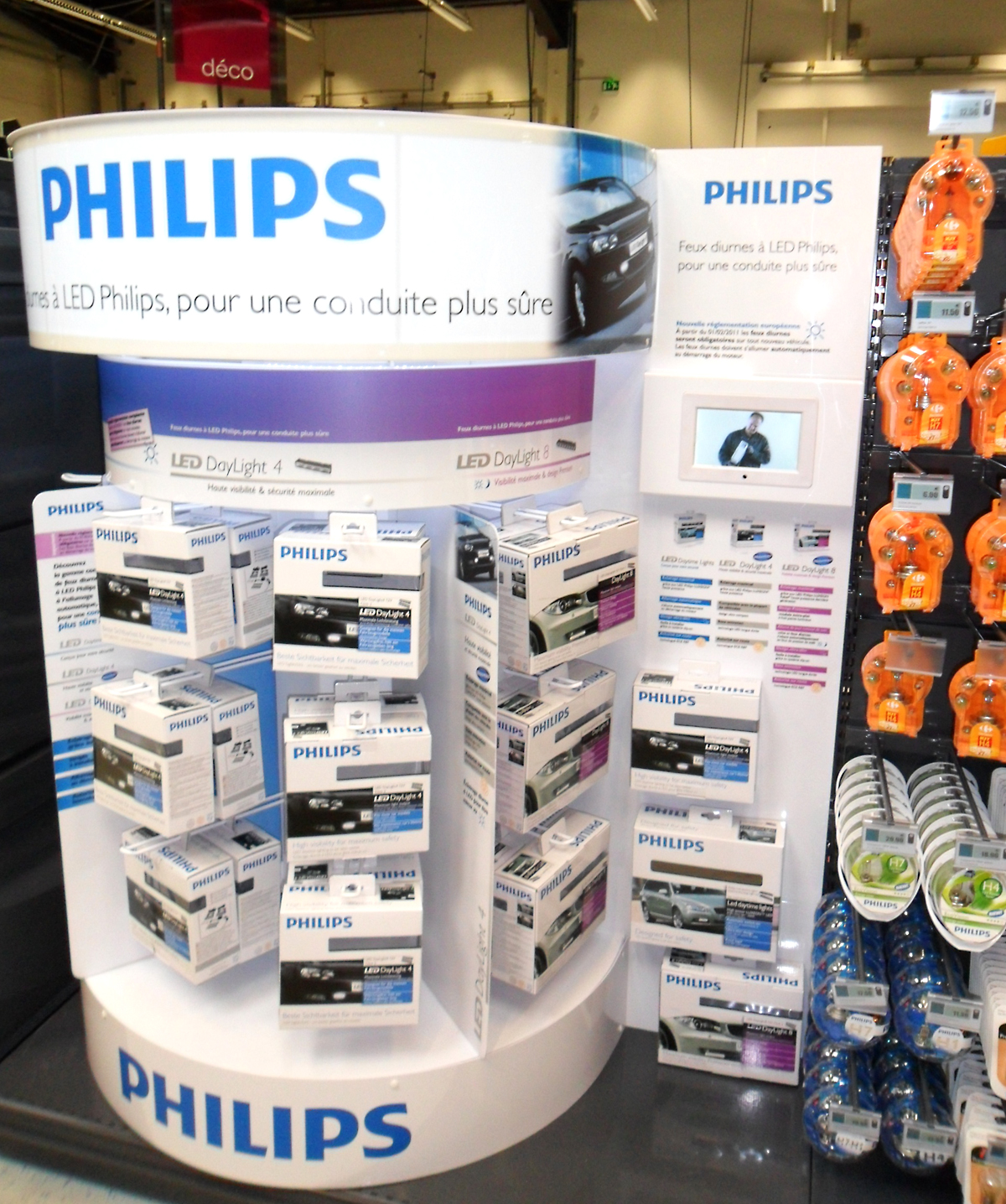 Philips Daytime Running Lights gondola at Carrefour